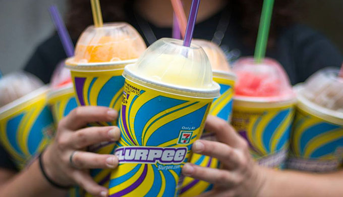 An armful of Slurpees
