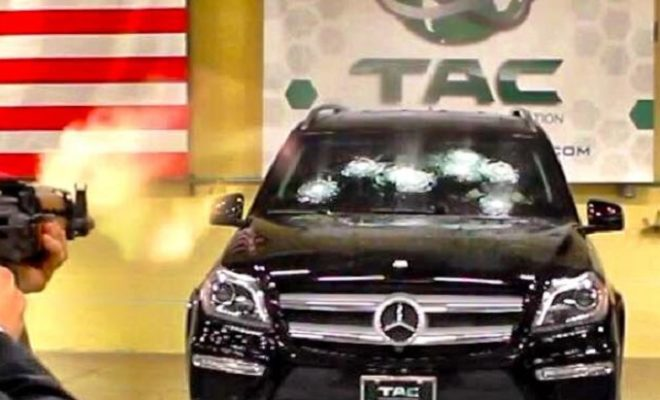 During Bulletproof Windshield Test Texas CEO Sits Behind The Wheel - Mercedes tx car show