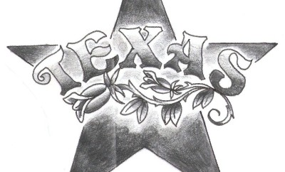 Black and white sketch of the word Texas superimposed on a five point star