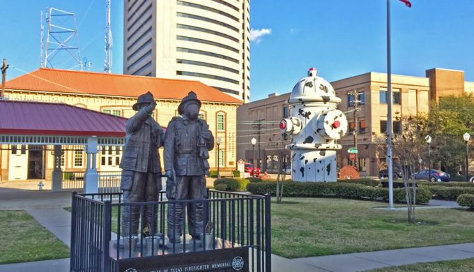 A Gigantic Fire Hydrant in Beaumont Marks C.A. 'Pete' Shelton Plaza & Fire Museum of Texas