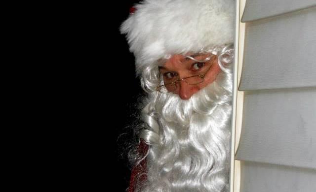 Santa sneaking in to Christmas breakfast