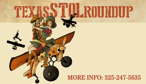 Texas STOL Roundup Flyer with cowboy holding a cowgirl atop a plane