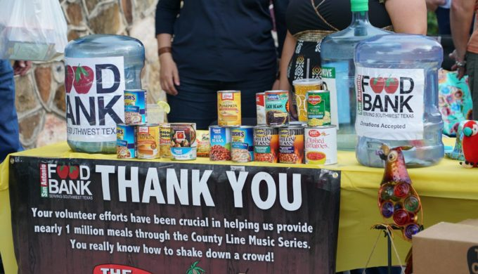 San Antonio Food Bank donation table at the County Line