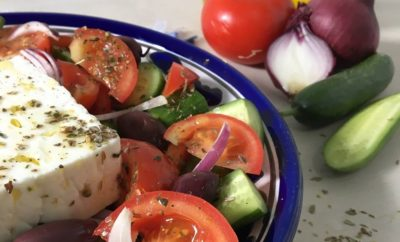 Horiatiki: A Classic Greek Salad Sans the Leafy Greens