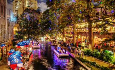 San Antonio River Walk is Draped With Christmas Lights and Its Dreamy