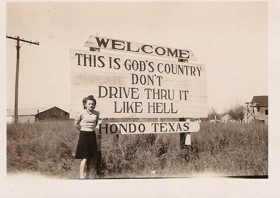 hondo, county seat, texas, hill country, sign
