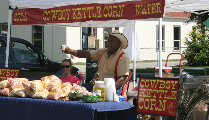 Men selling popcorn at Castroville Market Trail Days