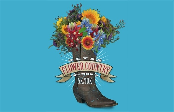 FlowerCountry 5k logo with wildflowers in a cowboy boot