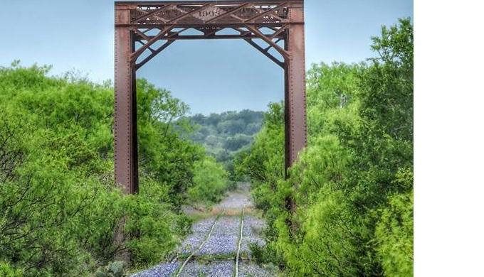 A railroad bridge near Kingsland Texas