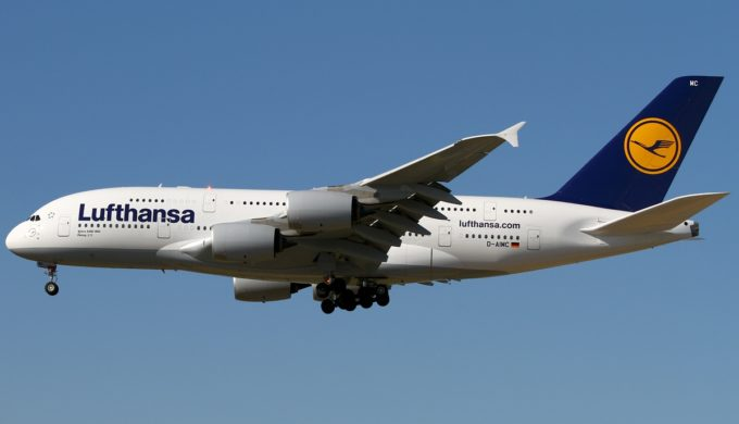 Lufthansa Airbus A380 in flight