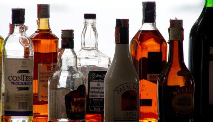 Bar full of alcohol bottles