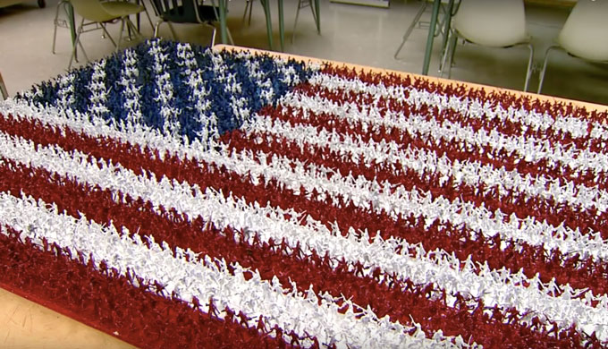 High Schooler Made An American Flag From Most Patriotic Materials He Could Imagine