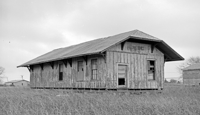 An abandoned Katy Railroad station in Hewitt Texas