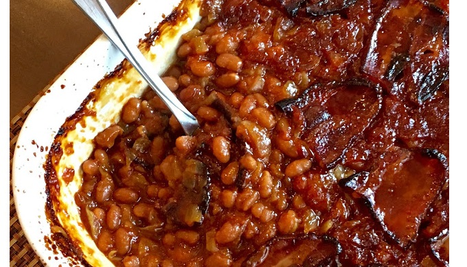 BBQ Sides Anastasia's Best Ever Baked Beans Topped with Bacon
