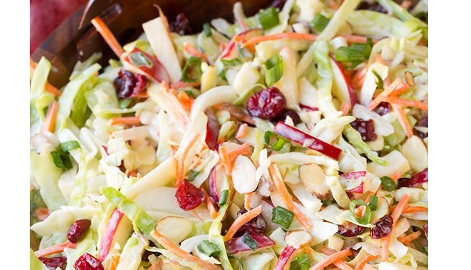 Apple Cranberry and Almond Coleslaw Summer Salad Recipe