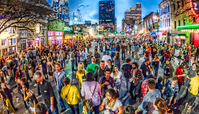 Futuristic styled picture of crowds at SXSW
