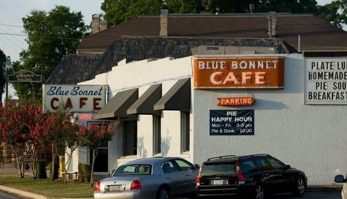 Front of Blue Bonnet Cafe as an iconic cafe