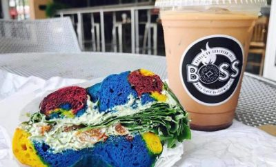 Boss Bagel's veggie sandwich on a rainbow bagel is one of the Texas Hill Country bagels you can find