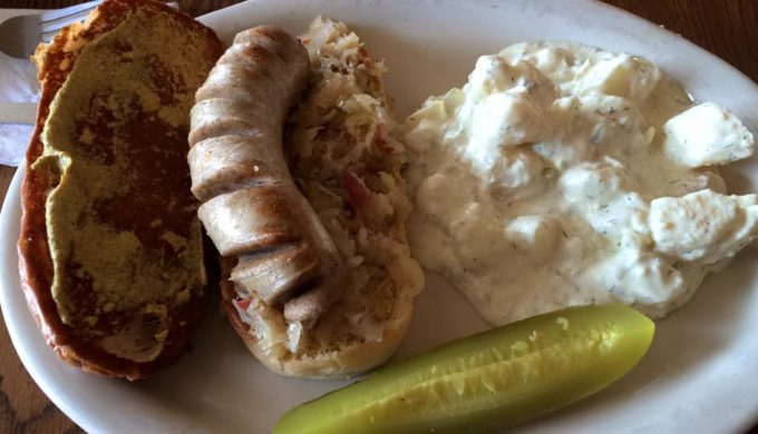 Bratwurst from Old German Bakery in Fredericksburg