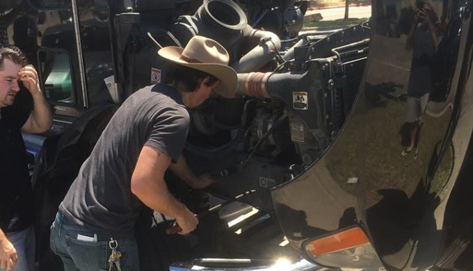 Texas Music artist Zane William's Busted Tour Bus