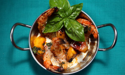 Grilled Peaches and Shrimp