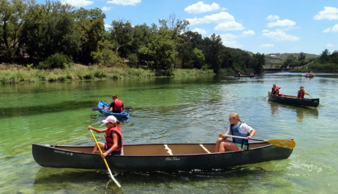 Canoeing on Guadalupe River at Mo-Ranch