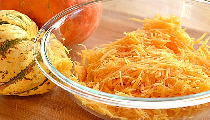 Carnival-Squash-Grated - kitchen-tested.com