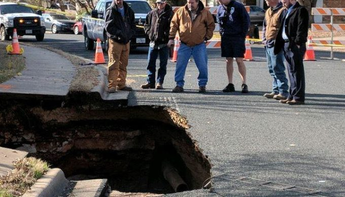 Cave opens under road in Road Round