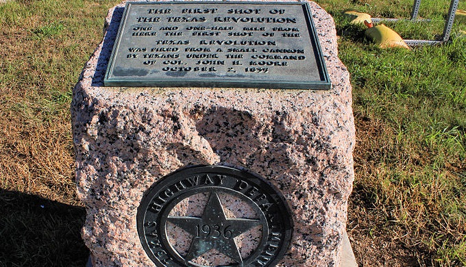 One of over a thousand centennial markers across the state. This is to commemorate the first shot of the Texas Revolution.
