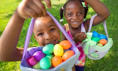 Children hunting Easter eggs