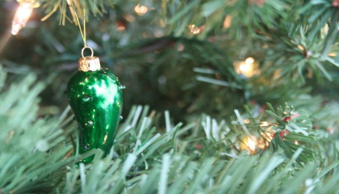 Christmas Pickle Ornament in a Tree