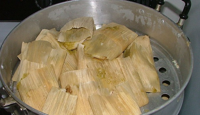 Christmas tamales in a steamer