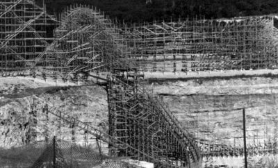 Construction of The Rattler at Six Flags Fiesta Texas