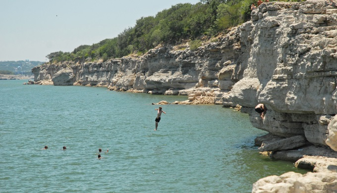 Diving at Pace Bend Park into Lake Travis