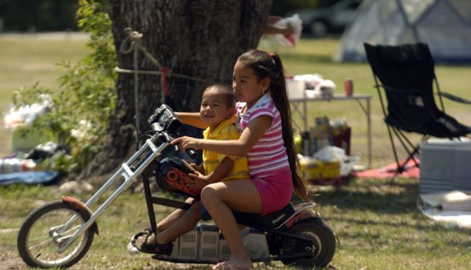 Easter Weekend Camping children on bike