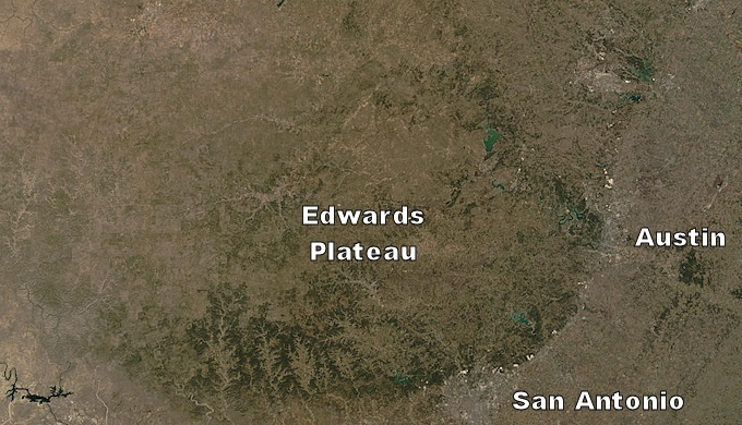 Edwards Plateau as seen from space
