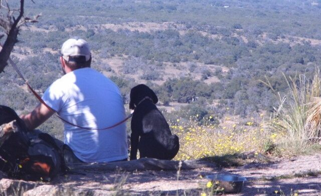 Enchanted Rock dog and owner