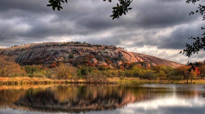 enchanted rock on a hill country spring night