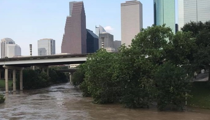 Engineers looked at how the same flooding that hit Houston from Harvey would affect San Antonio. This is near downtown Houston during the flooding.