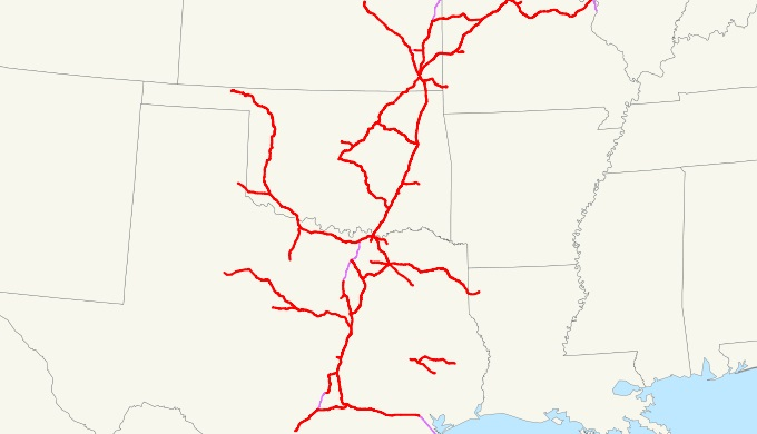 Extent of the Katy Railroad