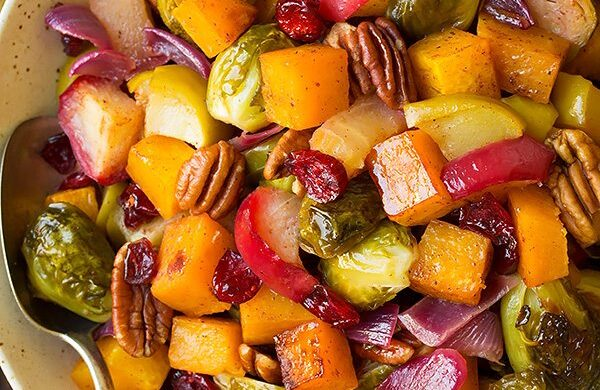 Fall Produce Recipes Roasted Veggies with Apples and Pecans