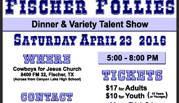 Fischer Follies flier with purple lettering