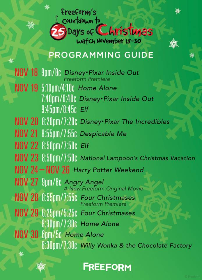 Freeform's Countdown to 25 Days of Christmas Show Schedule