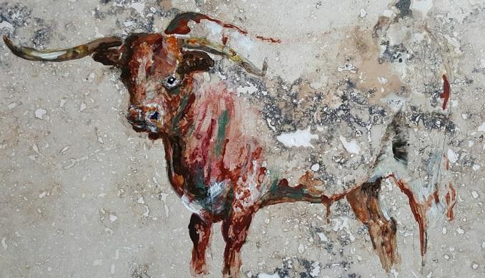 Georgiana Chenault Longhorn painted on limestone