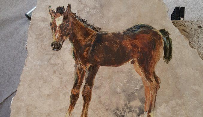 Georgiana - Foal painted on limestone