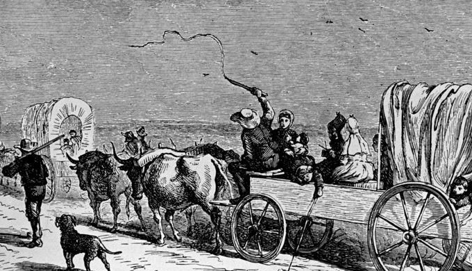 German Immigrants Heading to New Braunfels in a Covered Wagon in 1844