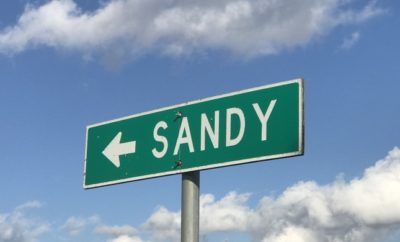 Sign for Sandy, a Ghost Town between Fredericksburg and Sandy