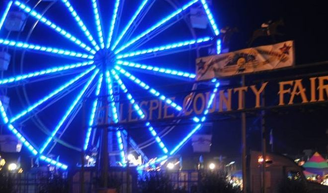 Gillespie County Fair Entrance with Ferris Wheel