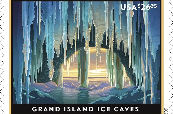 Grand Island Ice Caves priorty stamp