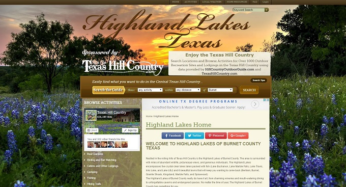 Highland Lakes Site by Texas Hill Country